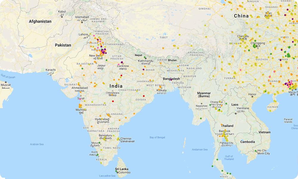 AQI pollution map