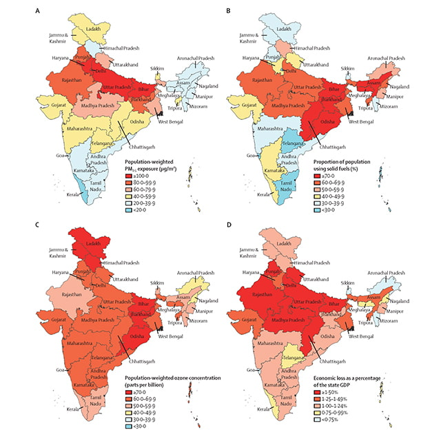 State-wise distribution of air pollution statistics in India